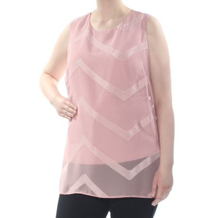 VINCE CAMUTO Womens Pink Glitter Chevron Sleeveless Scoop Neck Top Plus  Size: 1X Glitter Scoop Neck Top