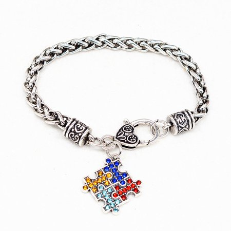 KABOER Autism Awareness Necklace Puzzle Jigsaw Classic Square Synthetic Crystal Charm Autism Awareness Bracelet ()