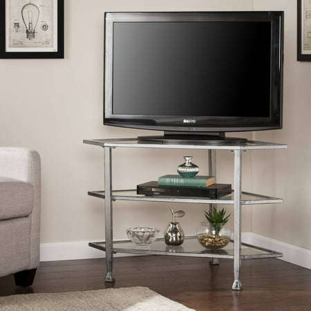 Southern Enterprises Jumpluff Metal/Glass Corner TV Stand for TVs up to 33.25