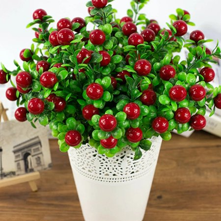 Heepo 1Pc 6 Branches 18 Heads Artificial Fruits Home Garden Decoration DIY - Fruit Decoration Ideas