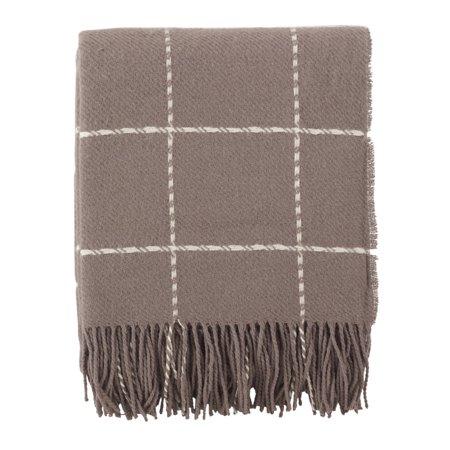 Saro Lifestyle Windowpane Tasseled Wool Blend Throw Blanket ()