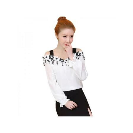 b5e17558f66f1 Ropalia - Ropalia Women Off Shoulder Chiffon T-shirt Casual Strapless Long  Sleeve Blouse - Walmart.com