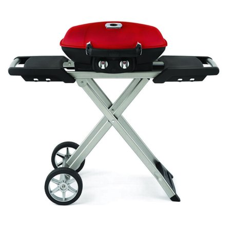 Wolf Outdoor Grills - Napoleon Freestanding Portable Grill with Griddle & High Lid, Red