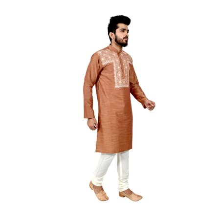 Indian Traditional Cotton Silk Light Brown Kurta Pajama for Men. This product is custom made to order. - image 5 de 6