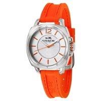 Coach Stainless Steel Orange Rubber Strap Women's Watch