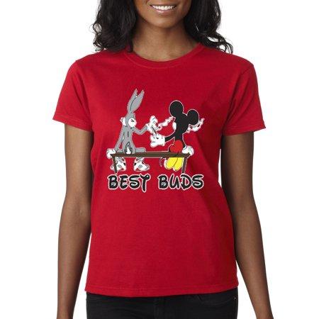 New Way 006 - Women's T-Shirt Best Buds Smoking Bench Mickey Bugs