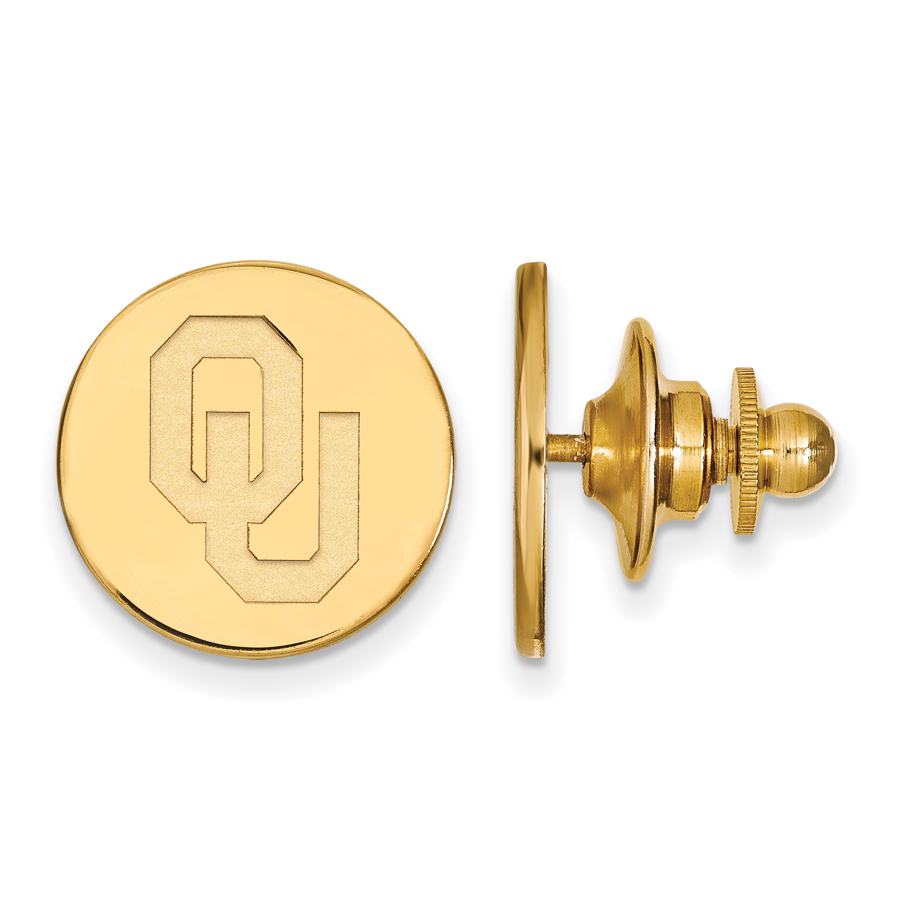 Sterling Silver w/ 14K Yellow Gold-Plated LogoArt Official Licensed Collegiate University of Oklahoma (OU) Tie Tac