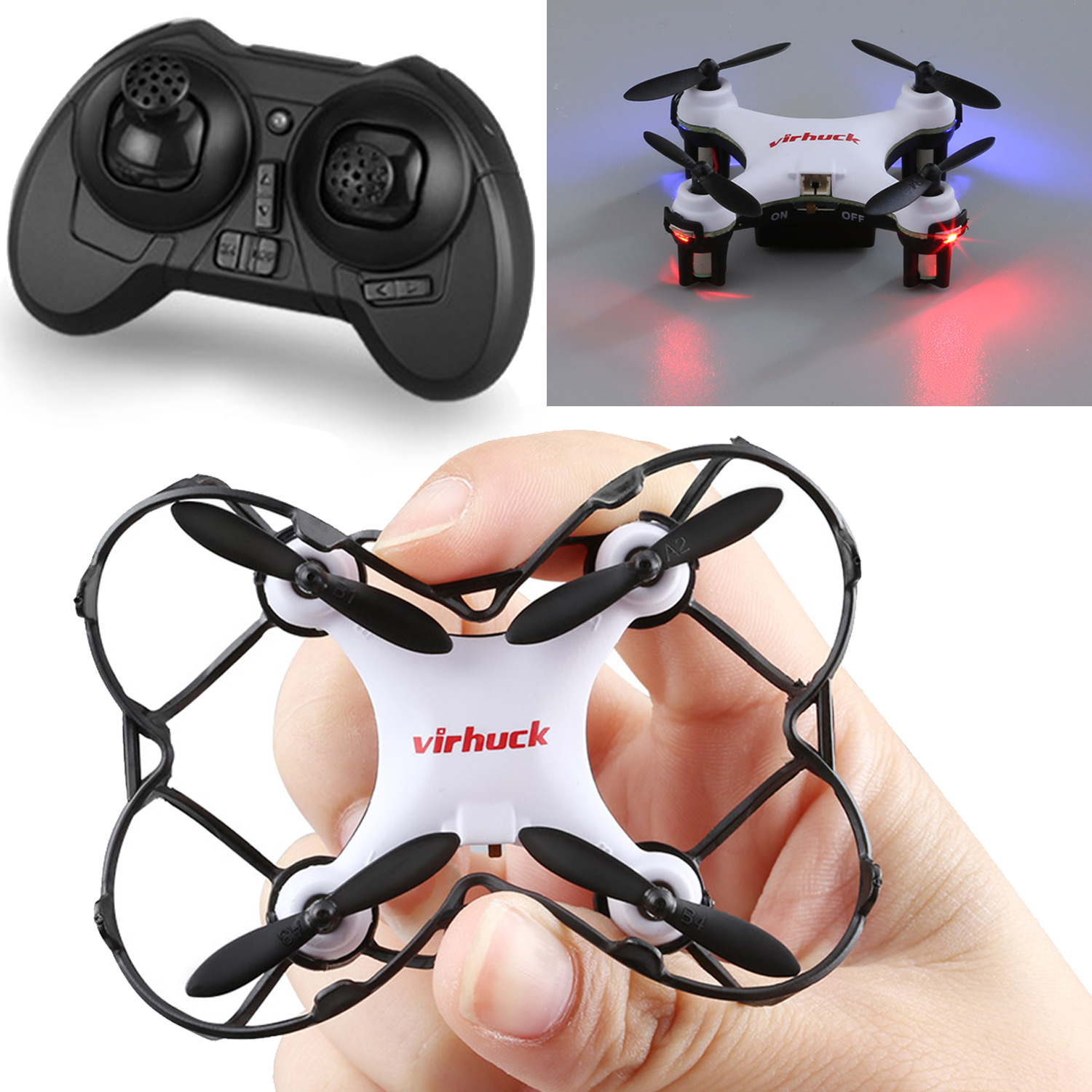 Virhuck GB202 Mini Pocket Quadcopter Remote Control 6 AXIS GYRO System Aircraft, White