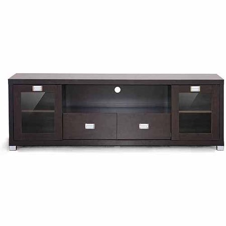 Wholesale Interiors Gosford Dark Brown Wood Modern TV Stand for TVs up to 69″