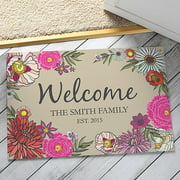 Personalized Floral Welcome Doormat