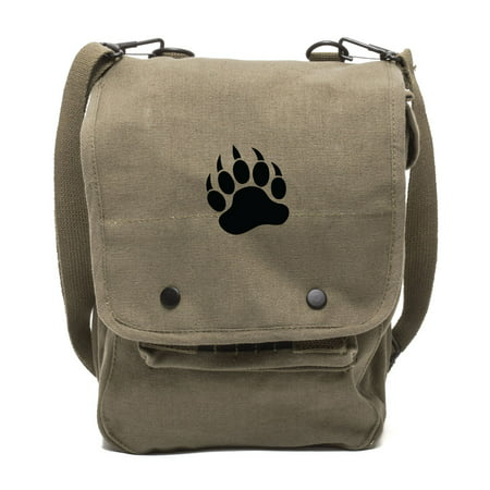 Grizzly Bear Paw Print Canvas Crossbody Travel Map Bag Case](Mlp Bags)