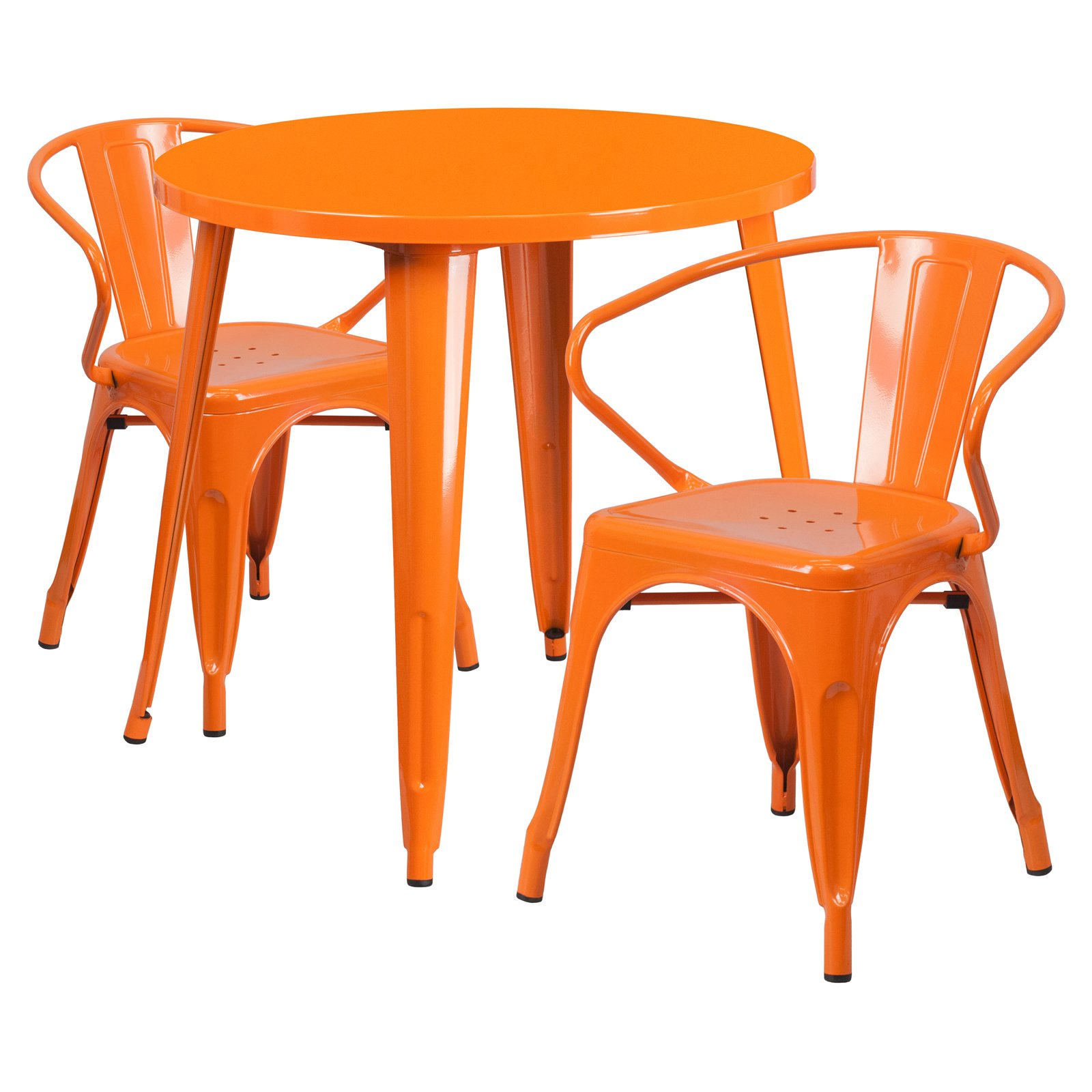 "Flash Furniture 30"" Round Metal Indoor-Outdoor Table Set with 2 Arm Chairs, Multiple Colors"