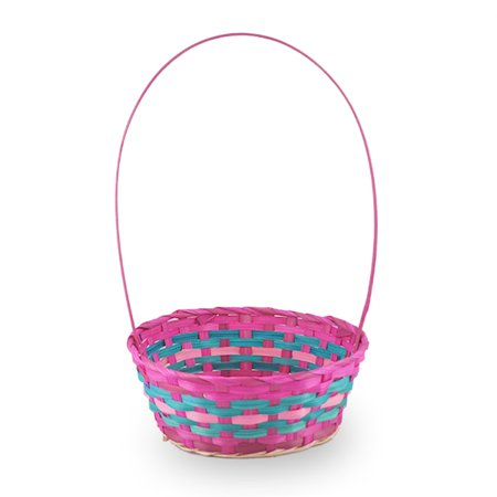 Spring Hot Pink with Turquoise Round Handle Basket - Med 9in - Pink Sprite