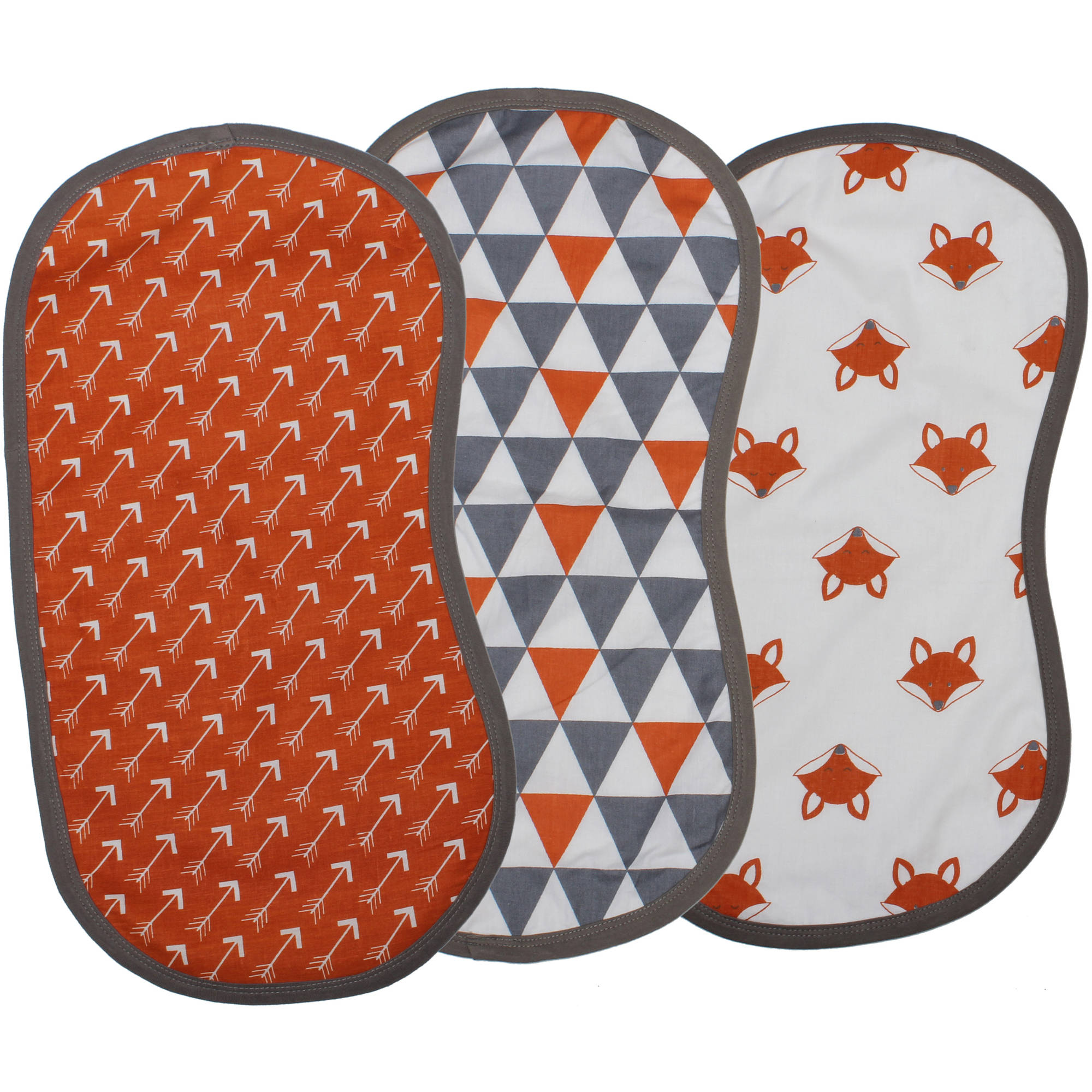 Bacati Playful Foxes Orange/Grey Burp Cloths, 3 count