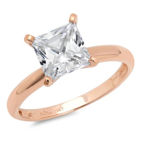 2 0 Ct Princess Brilliant Cut Simulated Diamond Cz Solitaire Engagement Wedding Ring Solid 14K Rose Gold  Size 6 25