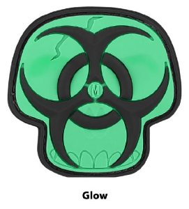 Maxpedition Gear Biohazard Skull Patch, Glow, 2 x 2-Inch Multi-Colored