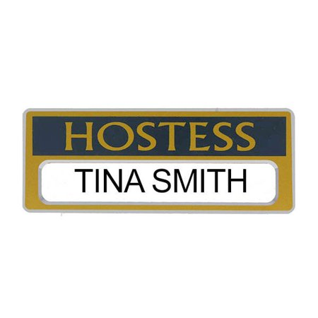 Hostess Name Badges Personalize Blue, Gold Personalize-able Magnetic Set of  2