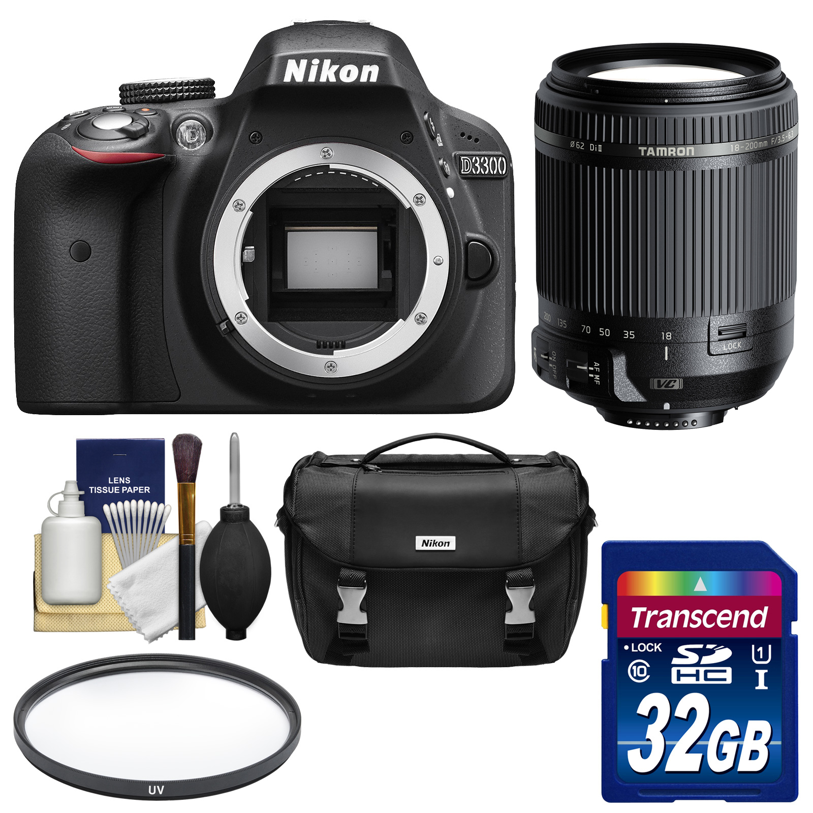 Nikon D3300 Digital SLR Camera Body (Black) Factory Refurbished with Tamron 18-200mm VC Lens + 32GB Card +... by Nikon