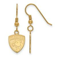 LogoArt Sterling Silver 14 Karat Gold-plated NHL Florida Panthers Small Dangle Earrings