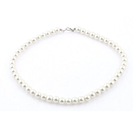 Women Lobster Clasp Link Faux Pearl Ball Chain Wedding Party Necklace White (Pearl Necklace Silver Clasp)
