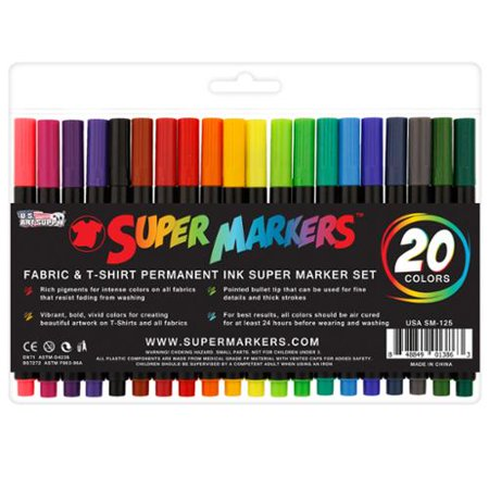Super Markers 20 Color Premium Fabric & T-Shirt Marker Set with Our Unique Fine tip Bullet Point Tip