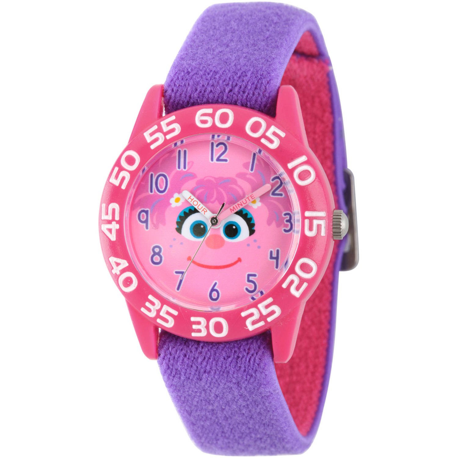 Sesame Street Girls' Pink Plastic Time Teacher Watch, Reversible Purple and Pink Nylon Strap