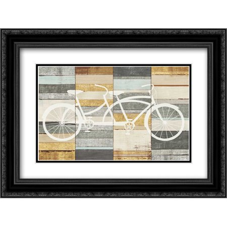 Beachscape Tandem Cruiser Gold Neutral 2x Matted 24x18 Black Ornate Framed Art Print by Mullan, Michael