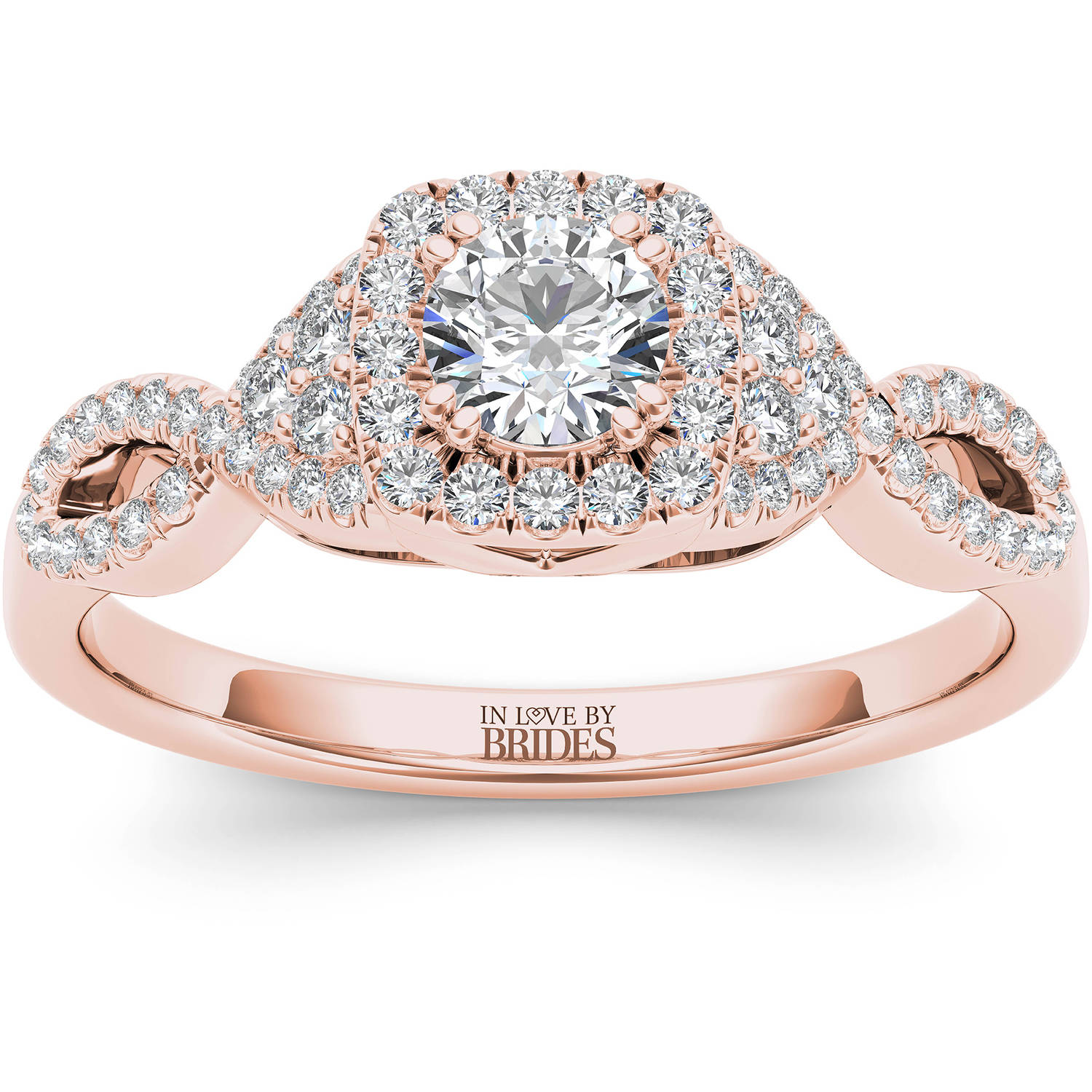 IN LOVE BY BRIDES 1/2 Carat T.W. Certified Diamond Twisted Shank Halo 14kt Pink Gold Engagement Ring
