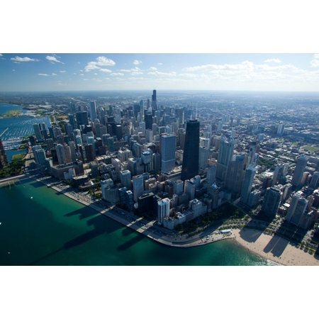Aerial view of a city Oak Street Beach Lake Michigan Chicago Cook County Illinois USA Canvas Art - Panoramic Images (36 x 12)](Party City Oak Lawn)