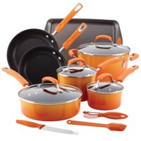 Rachael Ray Classic Brights Hard Enamel Nonstick 14-Piece Cookware Set, Orange