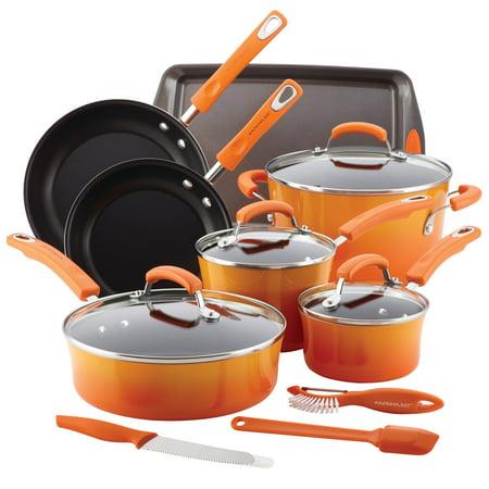 Rachael Ray Classic Brights Hard Enamel Nonstick 14-Piece Cookware Set,