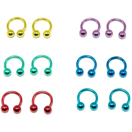 Pair of 14G Anodized Horseshoe Circular Barbell Surgical Steel - 6 Color Options