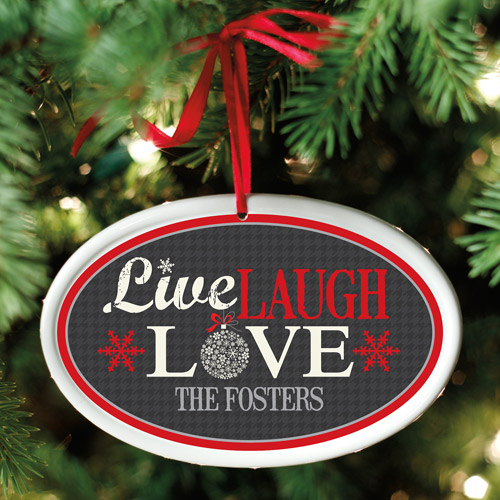 Personalized Live Laugh Love Oval Ornament