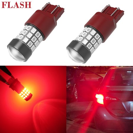 Alla Lighting T20 7440 7443 LED Strobe Flashing Brake Lights Bulbs 2835-SMD  7443 LED Stop TaIl Lights Replacement for Cars, Trucks, Pure Red (Set of