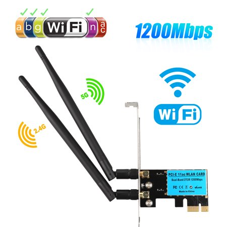 EEEkit Wireless Dual Band AC1200 PCI Express PCIe WiFi Adapter 1200Mbps PC Network Card - Pcie Laptop Wireless Card