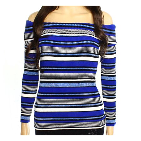 INC NEW Blue Women's Size XL Boat Neck Striped Ribbed Shimmer Sweater ()