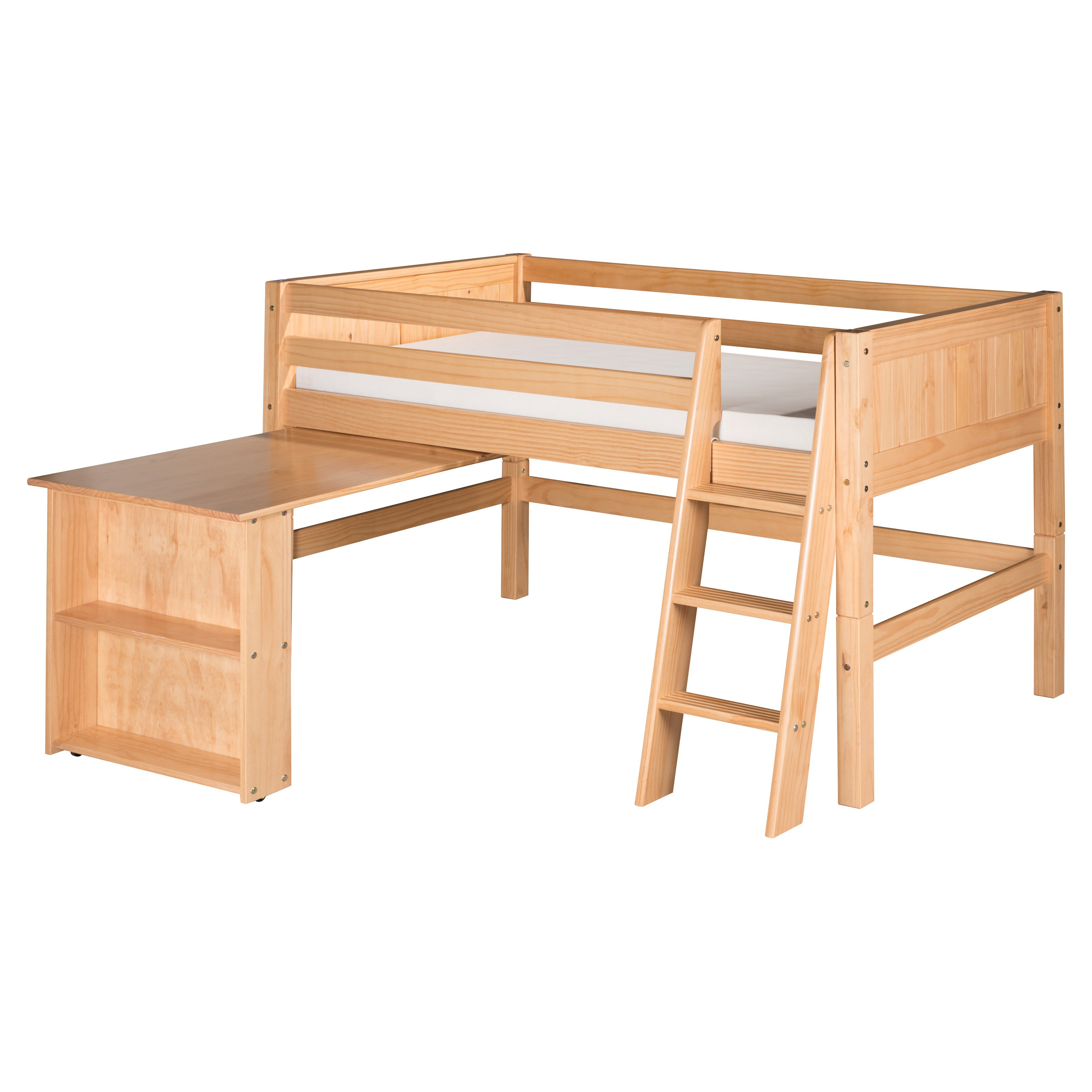 camaflexi panel headboard low loft bed with retractable desk  - camaflexi panel headboard low loft bed with retractable desk  walmartcom