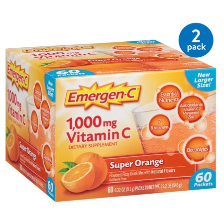 (2 Pack) Emergen-C Vitamin C Drink Mix, Super Orange, 1000 mg, 60 Ct Acerola Cherry Vitamin C
