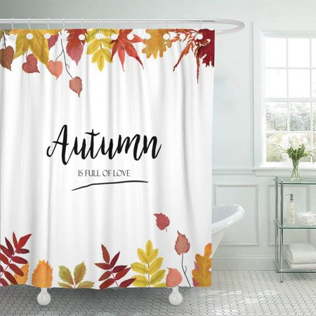 Fall Bathroom Decor (BPBOP Floral Watercolor Autumn Season Border Colorful Orange Yellow Burgundy Red Fall Polyester Shower Curtain Bathroom Decor 66x72)