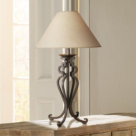 Empire Iron (Franklin Iron Works Rustic Table Lamp Open Scroll Wrought Iron Parchment Empire Shade for Living Room Family Bedroom Bedside)
