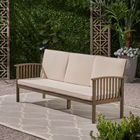 Breenda Outdoor Acacia Wood Sofa with Cushions, Gray and Cream