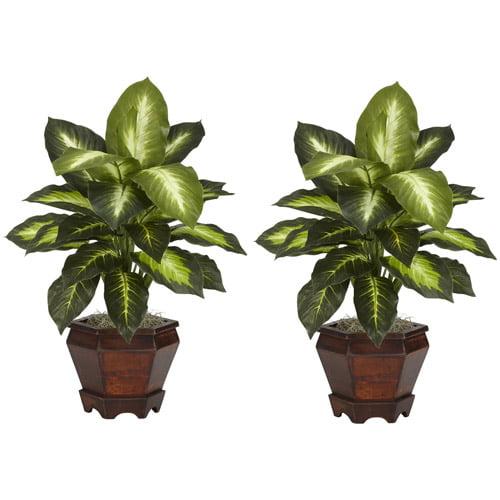 Dieffenbachia Silk Plant with Wood Vase, Golden, 2pc