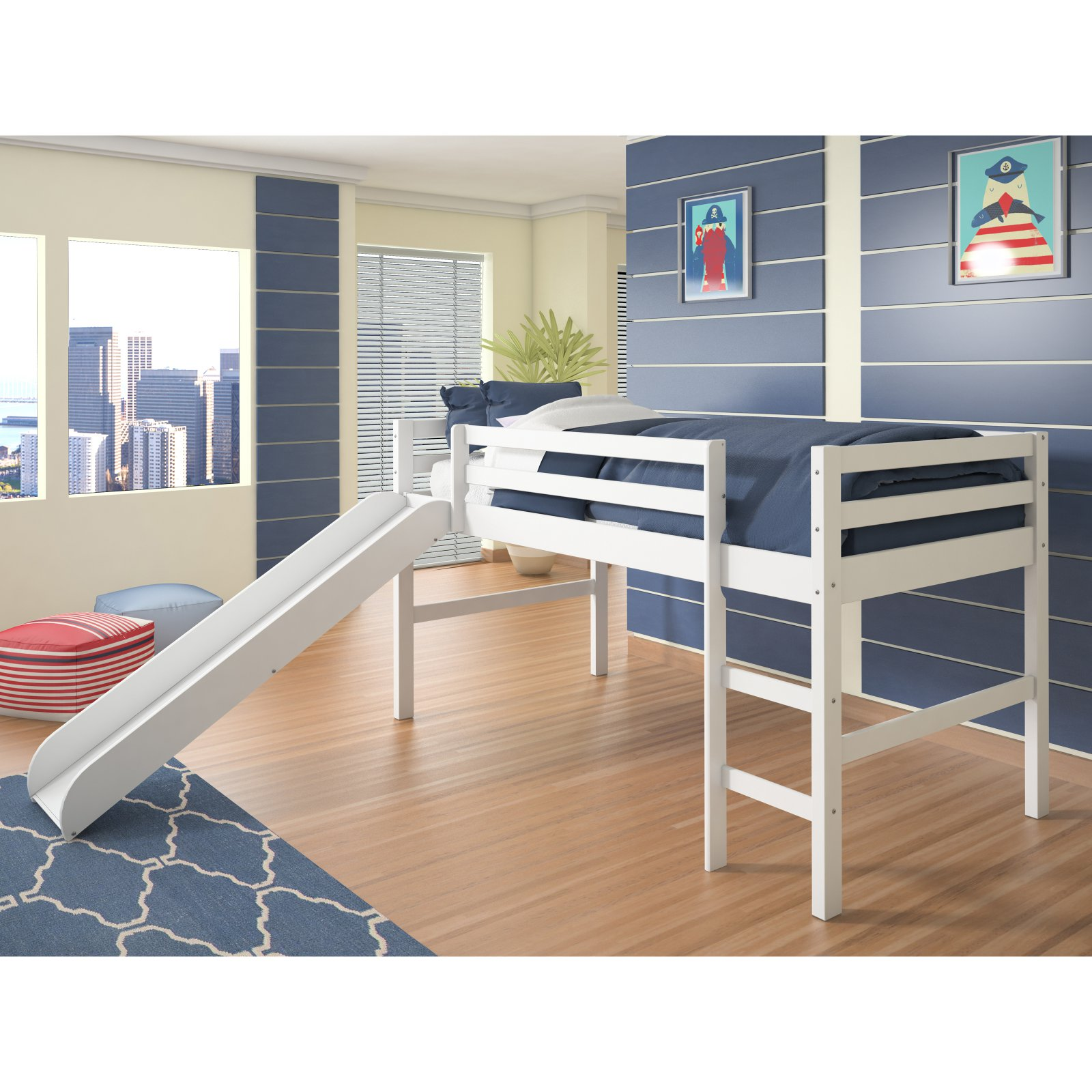 Donco Twin Low Loft Bed With Slide Walmart Com