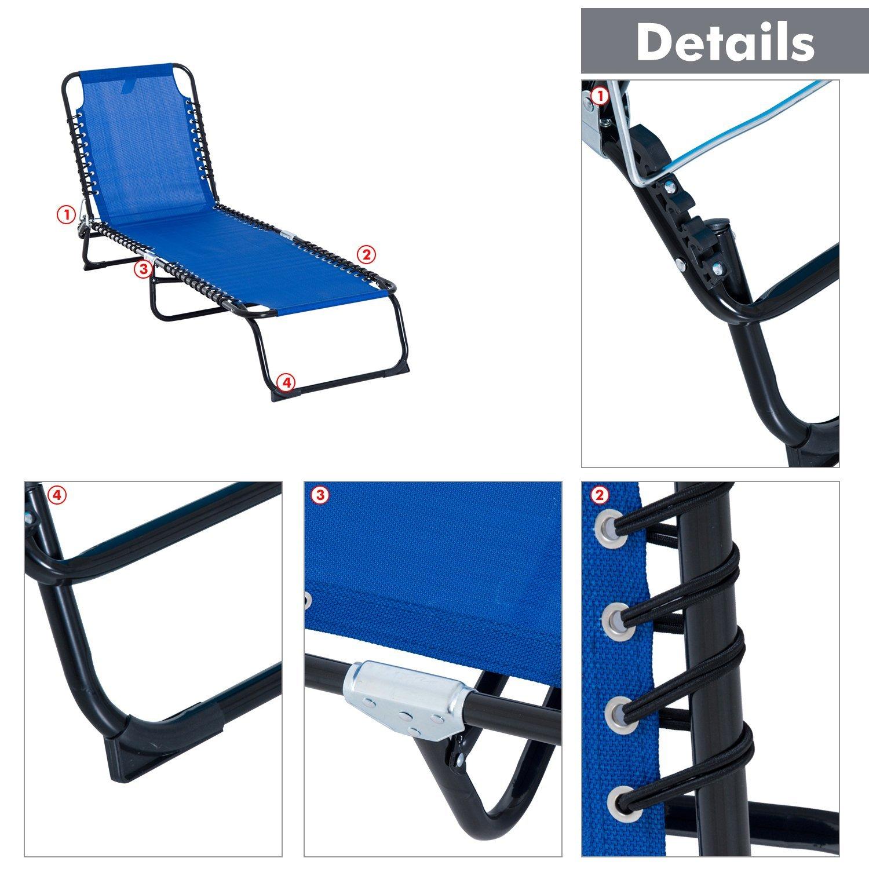 Camping L77 x W27 x H10in Beach Outdoor KCBYSS Foldable Sun Lounger Garden Chair Recliner Load 300kg For Garden