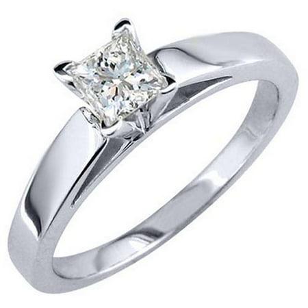 14k White Gold 1 Carat Solitaire Princess Cut Diamond Engagement Ring
