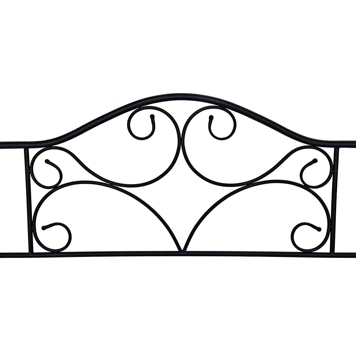 Queen Size Steel Bed Frame Platform Stable Metal Slats Headboard Footboard Black - image 3 de 7
