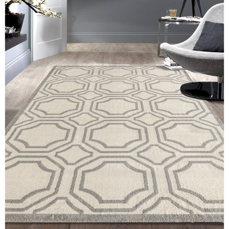 Modern Geometric Cream Area Rug or Runner ()