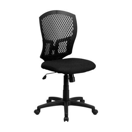 Offex Mid-Back Designer Back Task Chair with Padded Fabric Seat [WL-3958SYG-BK-GG] Designer Black Fabric Seat