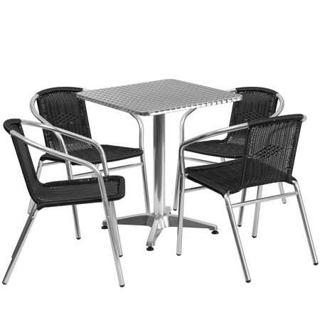 Lancaster Home 23.5-inch Square Aluminum Indoor-Outdoor Table with 4 Rattan Chairs ()