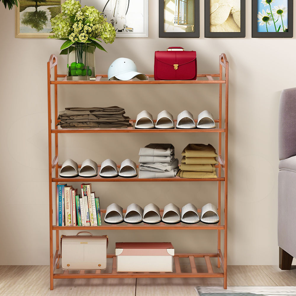 5 TIER WOODEN SHOE RACK/SHELF RAIL SLATTED SHOES ORGANIZER STAND